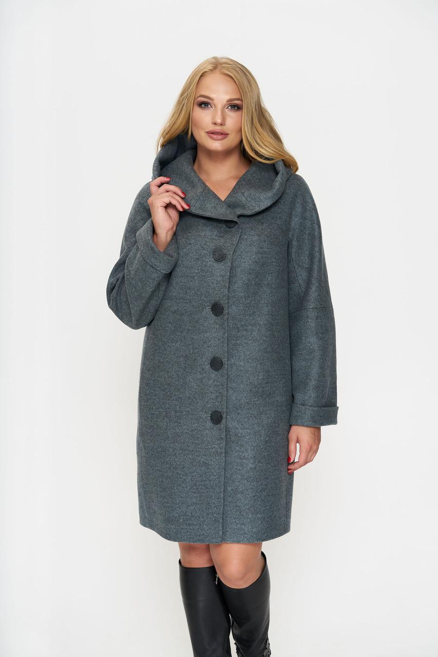Пальто женское демисезонное Марго, шерсть, оливковый, 54р.