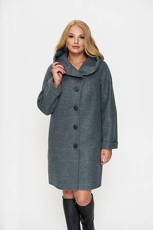 Пальто женское демисезонное Марго, шерсть, оливковый, 54р., фото 2