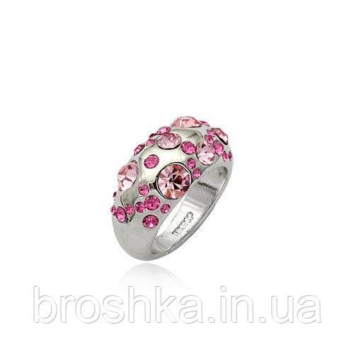 Белое кольцо ювелирная бижутерия с розовыми Swarovski