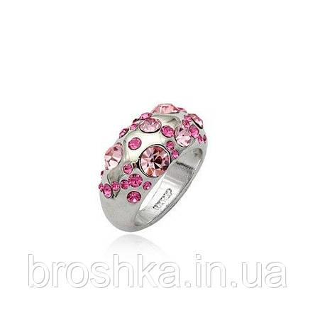 Белое кольцо ювелирная бижутерия с розовыми Swarovski, фото 2