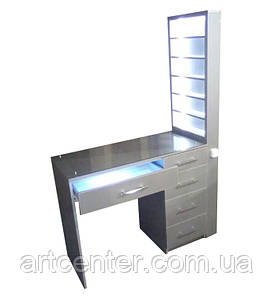 """Стол маникюрный """"Titan STAR"""" с витриной, стол маникюрный серый"""