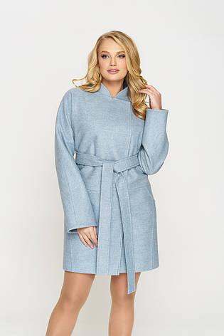 Пальто женское демисезонное Сильва, шерсть, голубой, 48-52р., фото 2