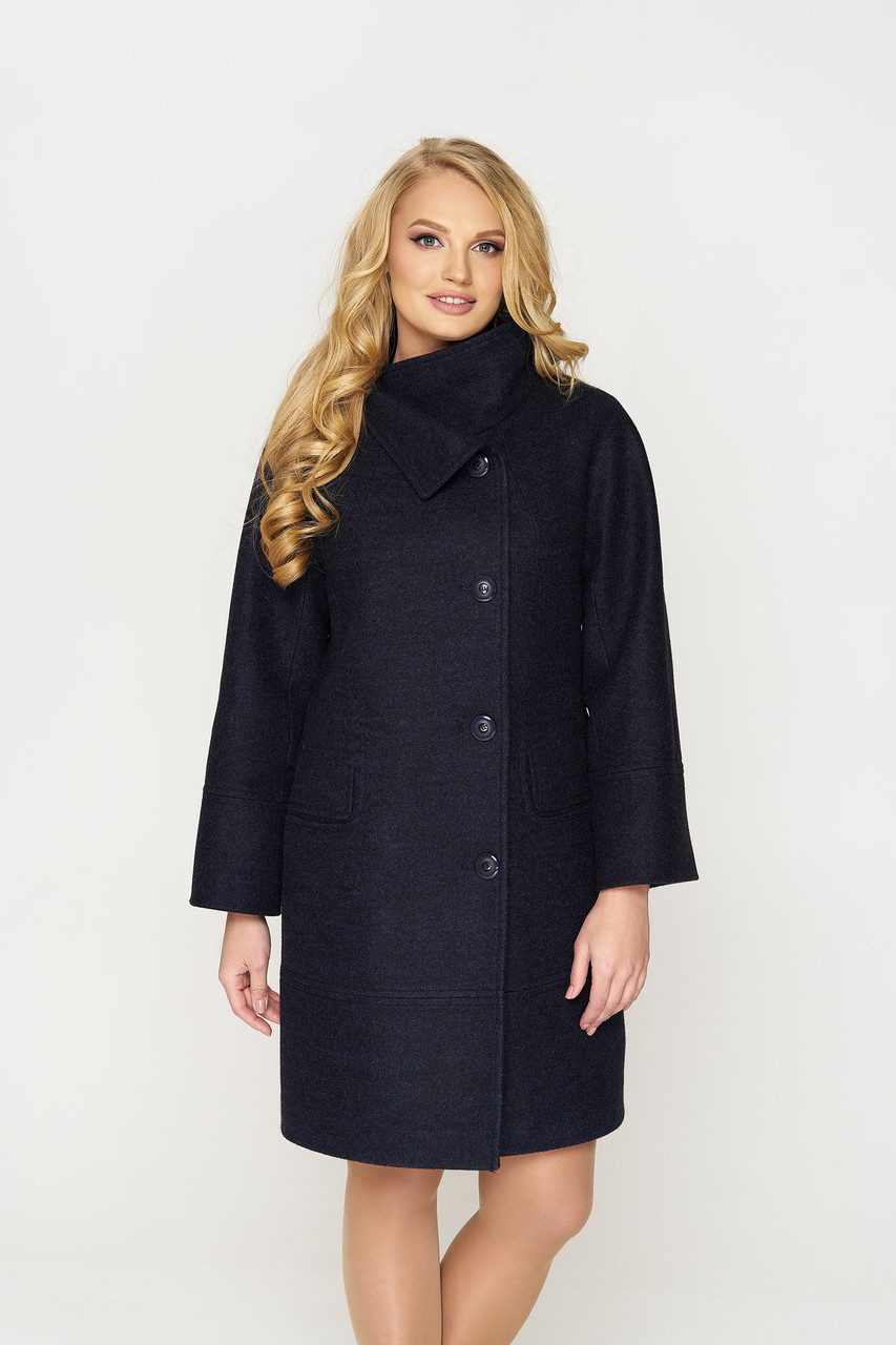 Пальто женское демисезонное Лайма, шерсть, тёмно-синий, 42, 44, 50р.