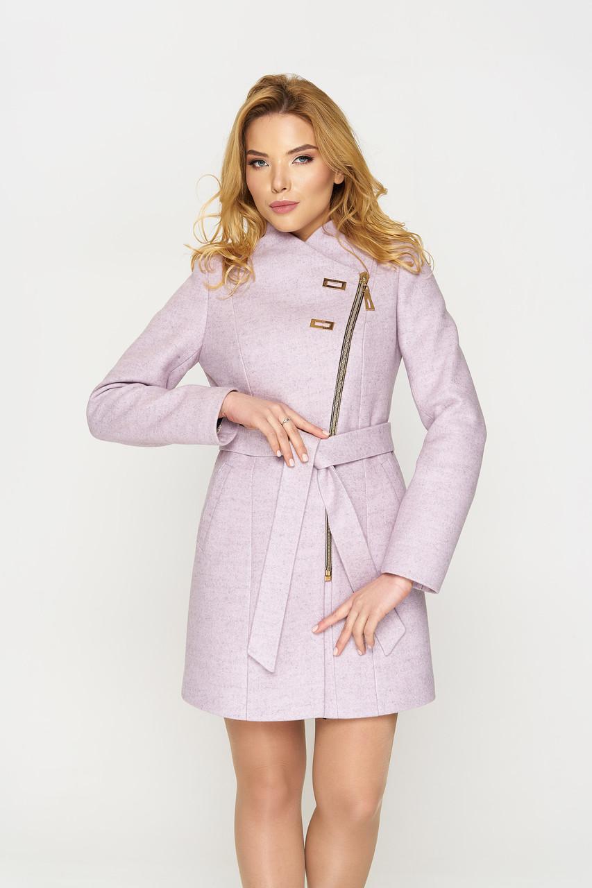 Пальто женское демисезонное Шанель, шерсть, сиреневый, 48-50р.