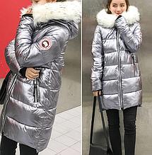 Куртка зимняя пуховик женская серебро  с белым мехом