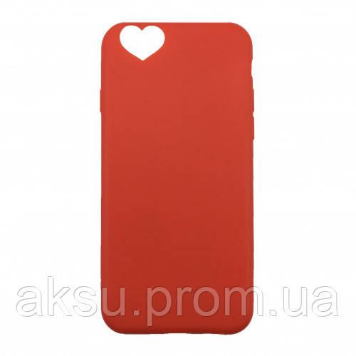 Чехол накладка на iPhone 7/8 черный с вырезом под сердце, плотный силикон