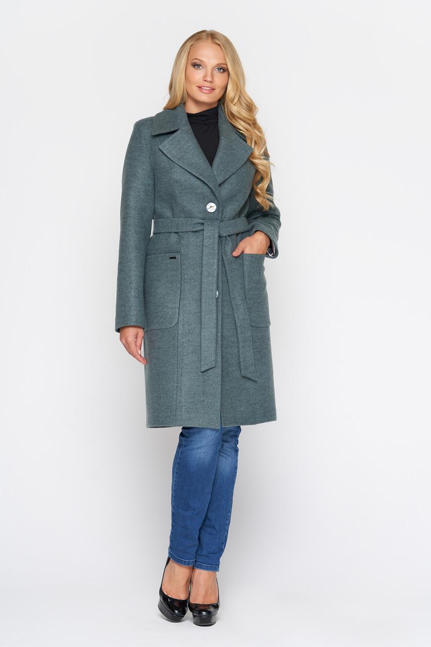 Пальто женское демисезонное Люси, шерсть, оливковый, 42, 46р.