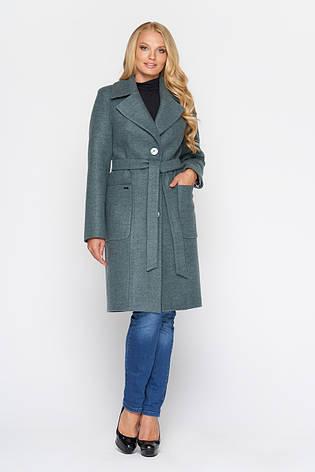 Пальто женское демисезонное Люси, шерсть, оливковый, 42, 46р., фото 2
