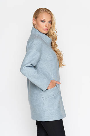 Пальто женское демисезонное Мика, шерсть, бледно - голубой, 46, 48р., фото 2