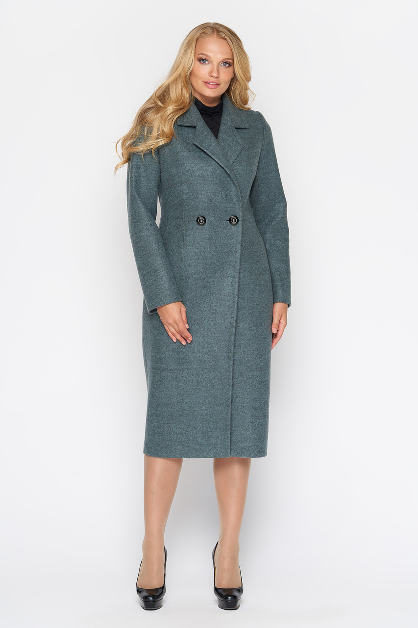 Пальто женское демисезонное Милана, шерсть, оливковый, 44р.