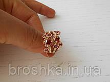 Позолоченное широкое кольцо бижутерия с бордовыми камнями Swarovski, фото 2