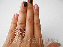 Позолоченное широкое кольцо бижутерия с бордовыми камнями Swarovski, фото 3