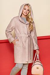 Пальто женское Марго, зима, шерсть, пудра  48-64р.