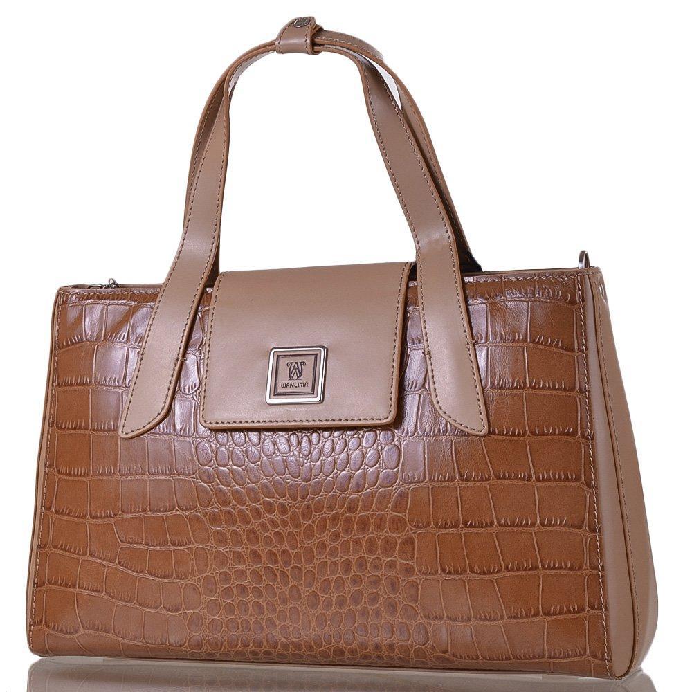 7ce35733acca Женская кожаная сумка WANLIMA Бежевая (W12029480014-coffee): продажа ...