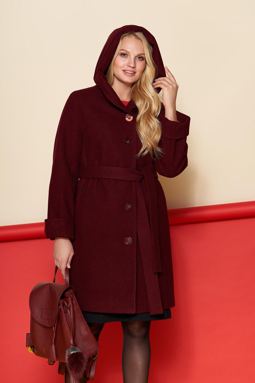 Пальто женское Марго, зима, шерсть Джени, бордовый  48-62р.
