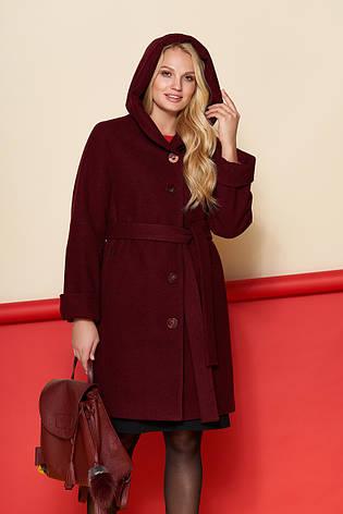 Пальто женское Марго, зима, шерсть Джени, бордовый  48-62р., фото 2