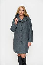 Пальто женское Марго, зима, шерсть, оливковый  44-60р.