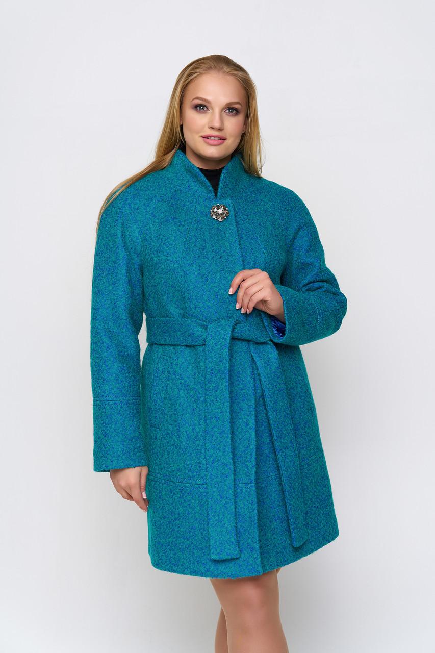 Пальто женское демисезонное Иванка, букле, бирюзовый, 40-50р.
