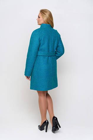 Пальто женское демисезонное Иванка, букле, бирюзовый, 40-50р., фото 2