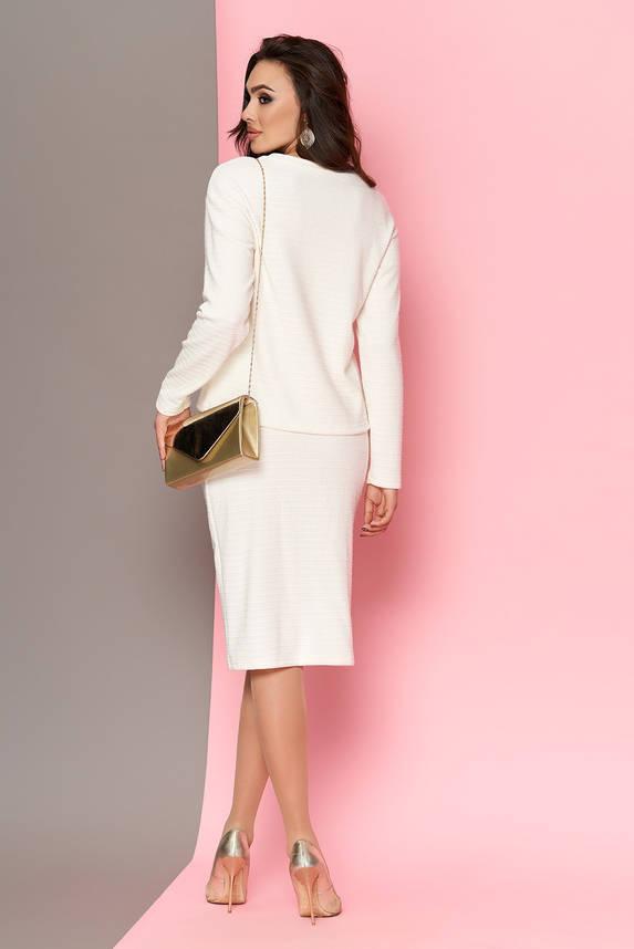 Женский теплый юбочный костюм из шерсти белый, фото 2