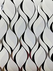 Обои виниловые на бумаге ,1054-10  бело-черные для гостиной, спальни, прихожей  0,53*10