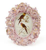 Рамка для фото овальная 11*13см Розы, цвет - розовый с золотом