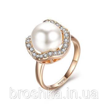 Позолоченное кольцо ювелирная бижутерия с белым жемчугом