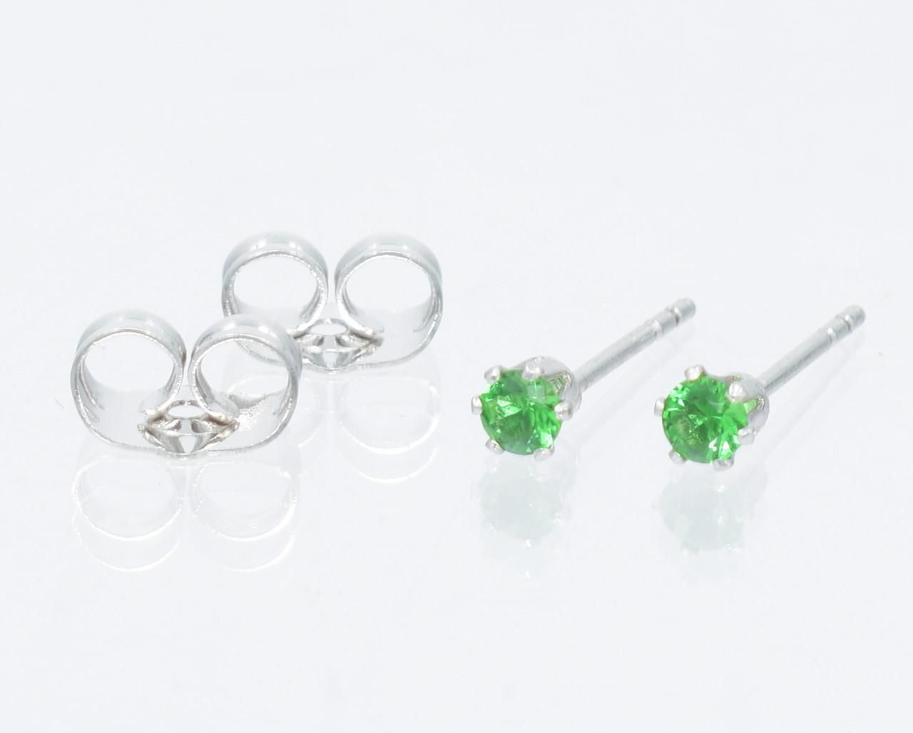 XUPING Серьги Гвозди Родий с зеленым цирконом 3мм