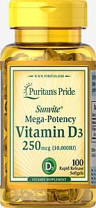 Вітамін Д-3 Puritan's Pride Vitamin D3 10000 IU 100 капс.