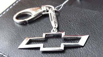 """Серебряный брелок для ключей на автомобиль """" Chevrolet """""""