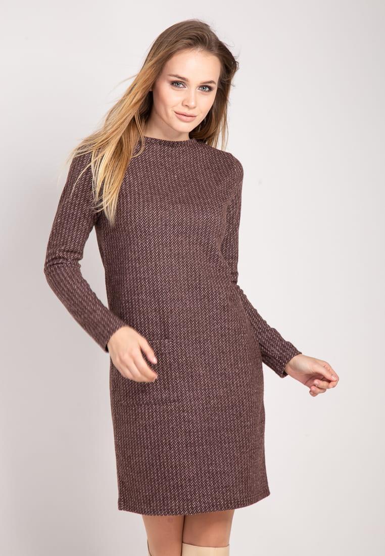 Теплое платье коричневого цвета с накладным карманом. Модель 1773. Размеры 46