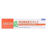 PowerSmile, отбеливающая паста против зубного налета, & Whitening Paste, мятный вкус, 170 г, Jason Natural