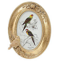 Рамка для фото овальная 21см Птица, цвет - состаренное золото