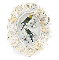 Рамка для фото овальная 13см Розы, цвет - белый с золотом