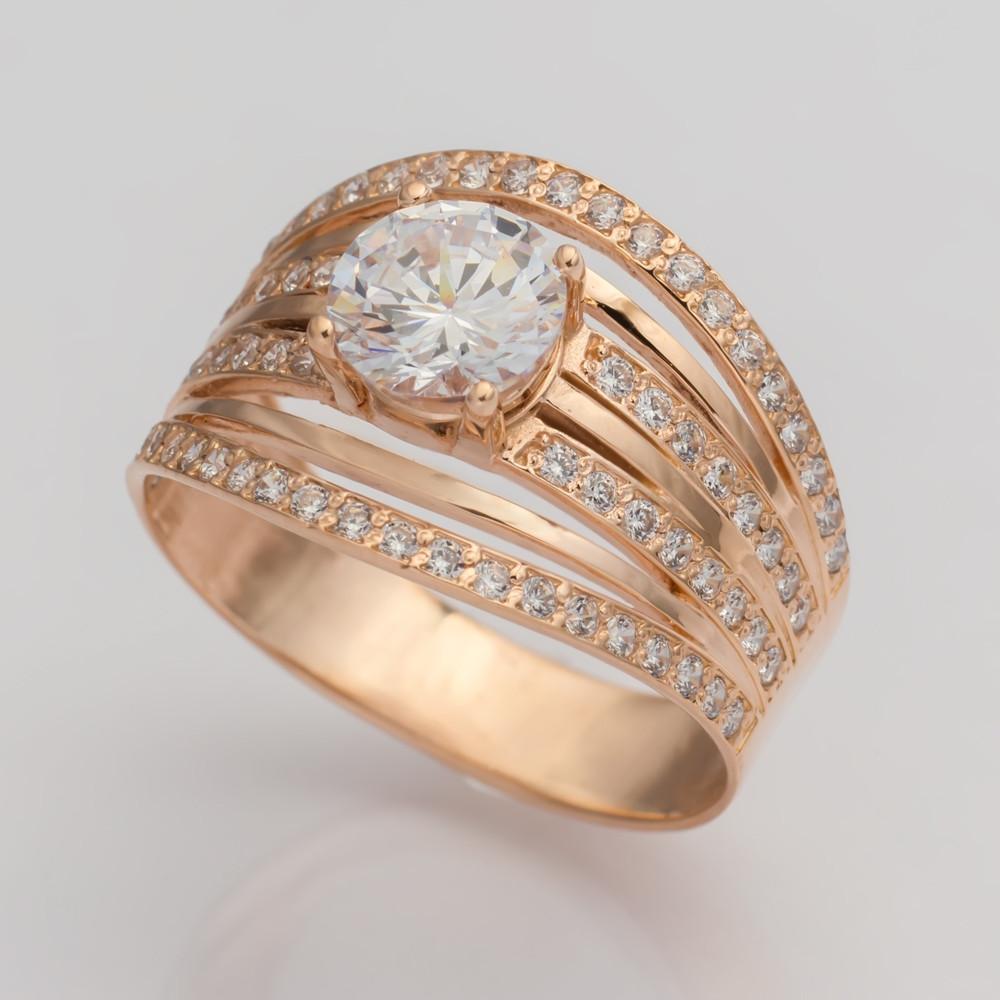 Золотое помолвочное кольцо с фианитами. KП1715