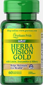 Лютеин черника с зеаксантином Puritan's Pride HerbaVision Gold Lutein Bilberry Zeaxanthin 60 капс.