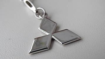 """Серебряный брелок для ключей на автомобиль """" Mitsubishi """""""