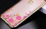 Силіконовий чохол з квітами для Huawei Honor 8X / Скла в наявності, фото 3