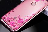 Силіконовий чохол з квітами для Huawei Honor 8X / Скла в наявності, фото 4