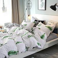 Комплект постельного белья Зеленые листья (Двуспальный-евро) , фото 1