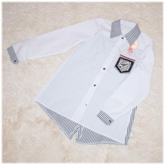Блуза школьная с длинным рукавом белая для девочки 134 140 146 158