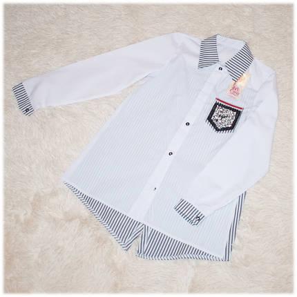 Блуза школьная с длинным рукавом белая для девочки 134 140 146 158 , фото 2