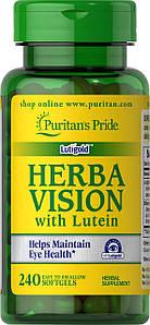 Для глаз лютеин и экстракт черники Puritan's Pride Herbavision with Lutein and Bilberry 240 капс.
