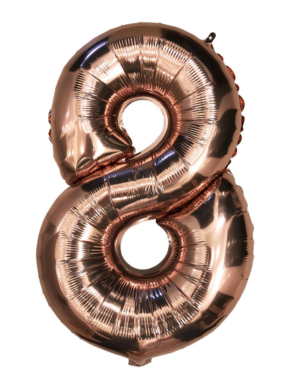 """Фольгированный шар - цифра """"8"""" Розовое золото, 80 см"""