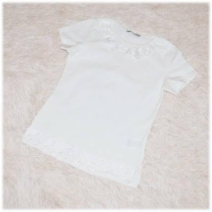 Блуза школьная с коротким рукавом айвори для девочки ТМ Toontoy 152 158, фото 2