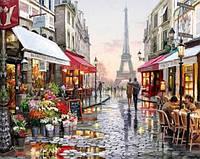 Картина для рисования по номерам, прогулка по Парижу 50х40 см
