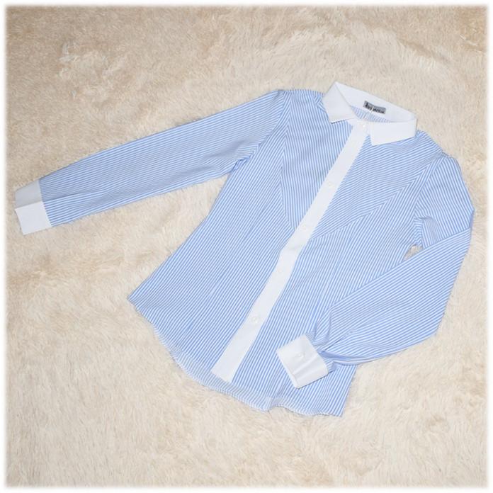 Блуза школьная с длинным рукавом голубая Nika ТМ Newpoint  для девочки 146 164 170