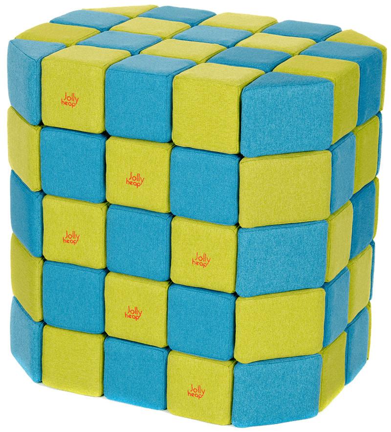 Мягкие магнитные кубики Jolly Heap голубой/зелёный