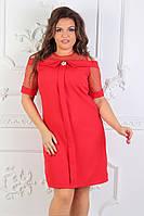 Женское нарядное платье вставки сетка 50,52,54рр. Красное. Костюмка
