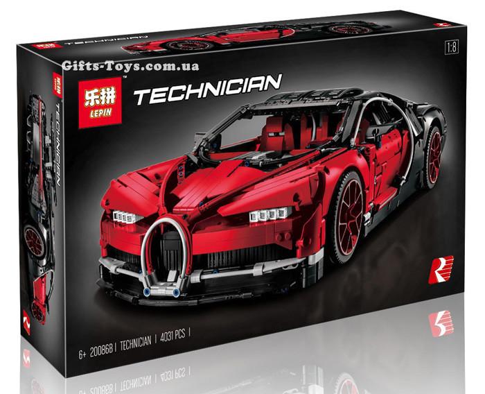 "Конструктор Lepin 20086B ""Bugatti Chiron"" 4031 деталей. Аналог Lego Technic 42083"